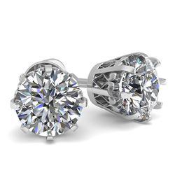 1.0 CTW VS/SI Diamond Stud Solitaire Earrings 18K White Gold - REF-178R2K - 35664