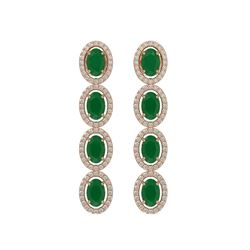 6.47 CTW Emerald & Diamond Earrings Rose Gold 10K Rose Gold - REF-114X2R - 40503