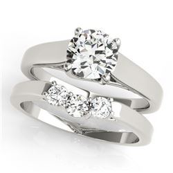 0.67 CTW Certified VS/SI Diamond 2Pc Set Solitaire Wedding 14K White Gold - REF-105H3M - 32105