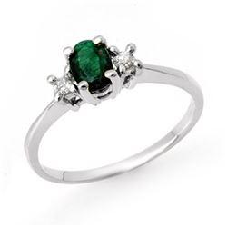 1.04 CTW Emerald & Diamond Ring 18K White Gold - REF-41F8N - 12485
