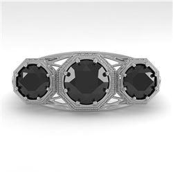 2 CTW Past Present Future Black Diamond Ring 18K White Gold - REF-90K4W - 36075
