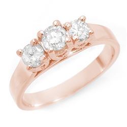 0.85 CTW Certified VS/SI Diamond 3 Stone Ring 14K Rose Gold - REF-119N3A - 10977