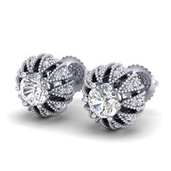 2.01 CTW VS/SI Diamond Art Deco Micro Pave Stud Earrings 18K White Gold - REF-272R7K - 36995
