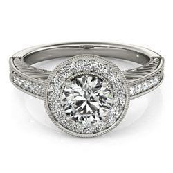 1.07 CTW Certified VS/SI Diamond Solitaire Halo Ring 18K White Gold - REF-216M2F - 26521