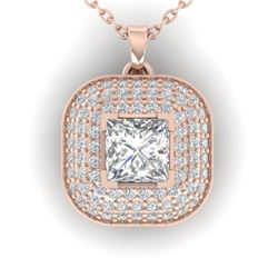 1.60 CTW Princess VS/SI Diamond Art Deco Stud Micro Halo Necklace 14K Rose Gold - REF-428V2Y - 30451