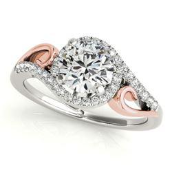 1 CTW Certified VS/SI Diamond Solitaire Halo Ring 18K White & Rose Gold - REF-195R3K - 26855