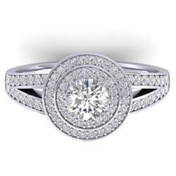 1.15 CTW Certified VS/SI Diamond Art Deco Halo Ring 14K White Gold - REF-147Y3X - 30363