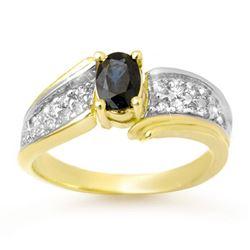 1.40 CTW Blue Sapphire & Diamond Ring 10K Yellow Gold - REF-46R4K - 13315
