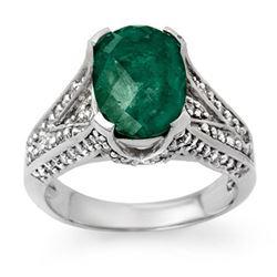 4.75 CTW Emerald & Diamond Ring 18K White Gold - REF-120R5K - 13928
