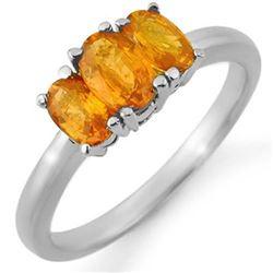 1.18 CTW Orange Sapphire Ring 18K White Gold - REF-37X5R - 10464