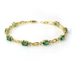 4.11 CTW Emerald & Diamond Bracelet 10K Yellow Gold - REF-50R9K - 14180