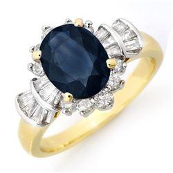 2.13 CTW Blue Sapphire & Diamond Ring 14K Yellow Gold - REF-80K2W - 13326
