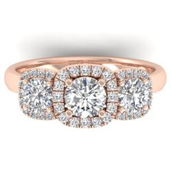 1.55 CTW Certified VS/SI Diamond Solitaire 3 Stone Ring 14K Rose Gold - REF-182F5N - 30427
