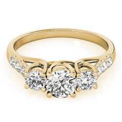 1.25 CTW Certified VS/SI Diamond 3 Stone Ring 18K Yellow Gold - REF-166V2Y - 28082