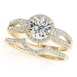 1.36 CTW Certified VS/SI Diamond 2Pc Wedding Set Solitaire Halo 14K Yellow Gold - REF-370W7H - 31183