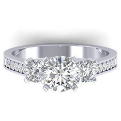 1.75 CTW Certified VS/SI Diamond 3 Stone Ring 14K White Gold - REF-389N8A - 30387