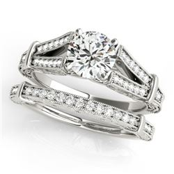 0.91 CTW Certified VS/SI Diamond Solitaire 2Pc Wedding Set Antique 14K White Gold - REF-148N5A - 314
