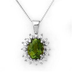 3.55 CTW Green Tourmaline & Diamond Necklace 18K White Gold - REF-98X5R - 10797