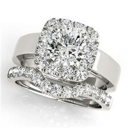 2.05 CTW Certified VS/SI Diamond 2Pc Wedding Set Solitaire Halo 14K White Gold - REF-439X8R - 31229