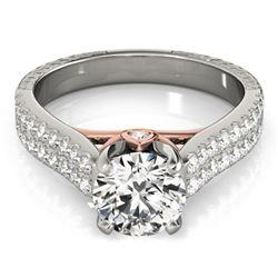 1.36 CTW Certified VS/SI Diamond Pave Ring 18K White & Rose Gold - REF-227H6M - 28095