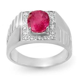 3.25 CTW Pink Sapphire & Diamond Men's Ring 10K White Gold - REF-62A9V - 13420