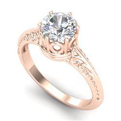 1 CTW VS/SI Diamond Art Deco Ring 18K Rose Gold - REF-298V5Y - 37251
