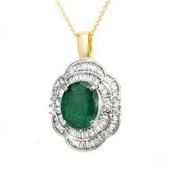 4.60 CTW Emerald & Diamond Pendant 14K Yellow Gold - REF-161K8W - 14244