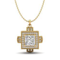 1.46 CTW Princess VS/SI Diamond Micro Pave Necklace 18K Yellow Gold - REF-418Y2X - 37195