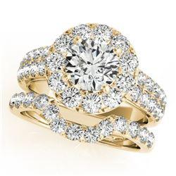 2.06 CTW Certified VS/SI Diamond 2Pc Wedding Set Solitaire Halo 14K Yellow Gold - REF-197R8K - 30884