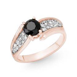 1.40 CTW VS Certified Black & White Diamond Ring 14K Rose Gold - REF-71K5W - 14087