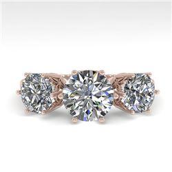 2 CTW Solitaire Past Present Future VS/SI Diamond Ring 18K Rose Gold - REF-414A2V - 35909