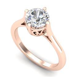 1.25 CTW VS/SI Diamond Solitaire Art Deco Ring 18K Rose Gold - REF-490M9F - 37227
