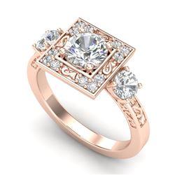 1.55 CTW VS/SI Diamond Solitaire Art Deco 3 Stone Ring 18K Rose Gold - REF-272R7K - 37275
