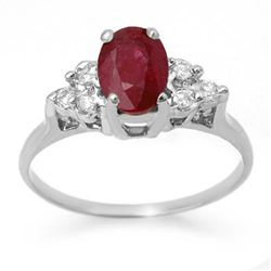 1.35 CTW Ruby & Diamond Ring 18K White Gold - REF-41X8R - 13627