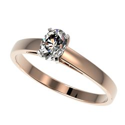 0.50 CTW Certified VS/SI Quality Oval Diamond Engagement Ring 10K Rose Gold - REF-64N3A - 32963