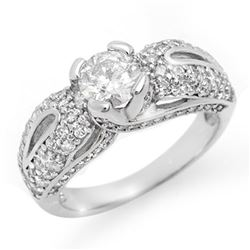 1.90 CTW Certified VS/SI Diamond Ring 14K White Gold - REF-248W2H - 11613