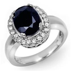 4.65 CTW Blue Sapphire & Diamond Ring 10K White Gold - REF-52V9Y - 11901