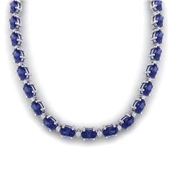 46.5 CTW Tanzanite & VS/SI Certified Diamond Eternity Necklace 10K White Gold - REF-439N5A - 29435