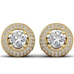 1.75 CTW Certified VS/SI Diamond Art Deco Micro Halo Stud Earrings 14K Yellow Gold - REF-207F6N - 30