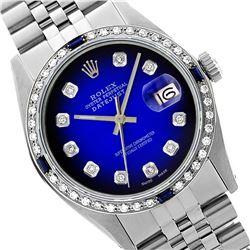 Rolex Men's Stainless Steel, QuickSet, Diam Dial & Diam/Sapphire Bezel - REF-521H6W