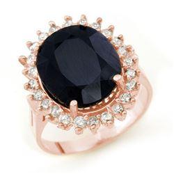 14.10 CTW Blue Sapphire & Diamond Ring 14K Rose Gold - REF-150X9R - 13111