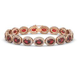 21.98 CTW Garnet & Diamond Bracelet Rose Gold 10K Rose Gold - REF-247M6F - 40647