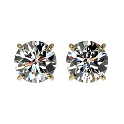 1.57 CTW Certified H-SI/I Quality Diamond Solitaire Stud Earrings 10K Yellow Gold - REF-183N2A - 366