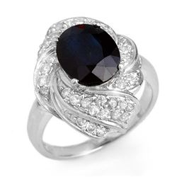3.85 CTW Blue Sapphire & Diamond Ring 18K White Gold - REF-102K2W - 13087