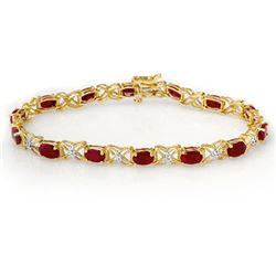 8.55 CTW Ruby & Diamond Bracelet 14K Yellow Gold - REF-78H2M - 13950
