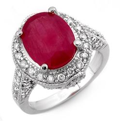 6.0 CTW Ruby & Diamond Ring 14K White Gold - REF-100X9R - 11524