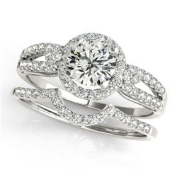 0.86 CTW Certified VS/SI Diamond 2Pc Wedding Set Solitaire Halo 14K White Gold - REF-122F5N - 31175