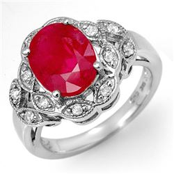 3.50 CTW Ruby & Diamond Ring 18K White Gold - REF-74X5R - 11909