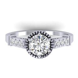 1.22 CTW Certified VS/SI Diamond Solitaire Art Deco Ring 14K White Gold - REF-347H8M - 30534