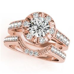2.35 CTW Certified VS/SI Diamond 2Pc Wedding Set Solitaire Halo 14K Rose Gold - REF-488V7Y - 31293